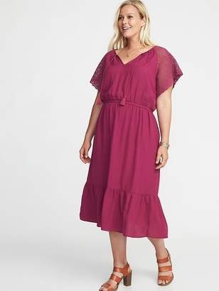 Old Navy Plus-Size Crochet-Sleeve Cinched-Waist Tiered Midi