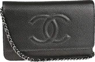 Chanel Timeless Wallet on chain Metallic Dark Silver