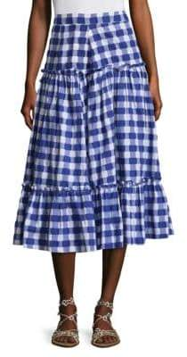 MDS Stripes Gingham Tiered Cotton Skirt