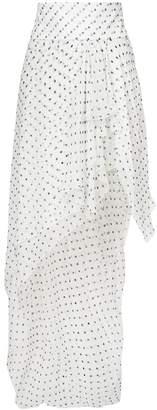 asymmetric spotted ruffled skirt