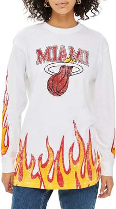 Topshop x UNK Miami Heat Flame Long Sleeve Tee