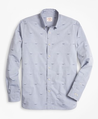 Brooks Brothers Sailor's Knot Chambray Jacquard Sport Shirt