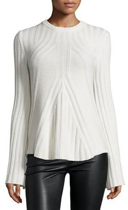 Neiman Marcus Cashmere Collection Ribbed Cashmere-Blend Bell-Sleeve Flared Sweater $264 thestylecure.com