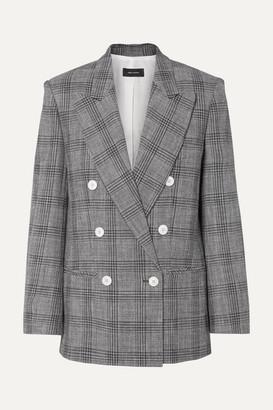 Isabel Marant Deagan Double-breasted Checked Cotton-blend Blazer - Dark gray