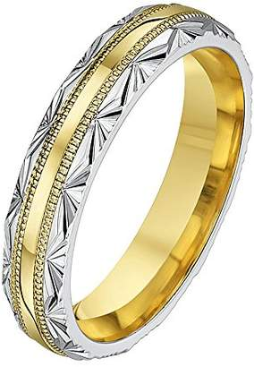 Theia His & Hers 14ct Yellow and White Gold Two-Tone 6mm 'Half Fan' Millgrain Wedding Ring - Size T