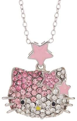 Hello Kitty White & Pink Pave Crystal Pendant Necklace