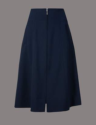 Marks and Spencer Zipped Front A-Line Midi Skirt