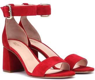RED (V) suede block heel sandals