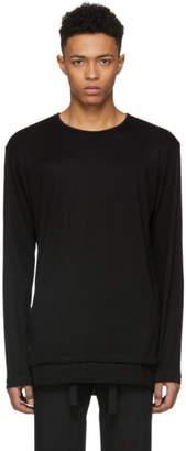 Yohji Yamamoto Black Long Sleeve Tencel T-Shirt