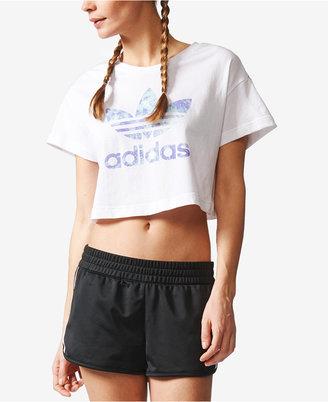 adidas Ocean Elements Cotton Cropped Logo T-Shirt $30 thestylecure.com