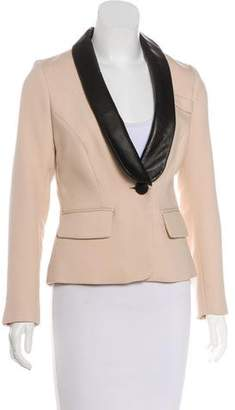 Milly Wool-Blend Leather-Trimmed Blazer