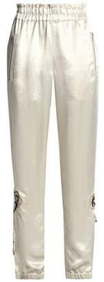 Sonia Rykiel Floral-Appliquéd Hammered-Satin Tapered Pants
