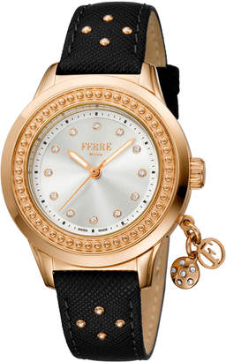 Ferré Milano Women's 36mm Stainless Steel Charms Watch with Leather Strap, Rose/Black