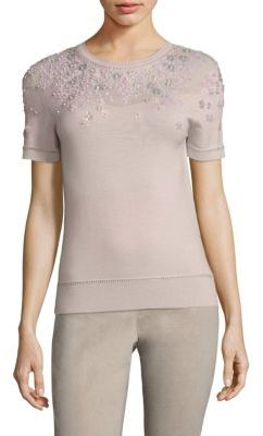 Elie Tahari Haldey Embellished Sweater $268 thestylecure.com