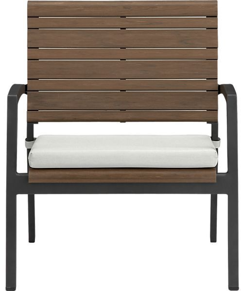 Crate & Barrel Rocha Lounge Chair with Cushion. in Sunbrella: White Sand