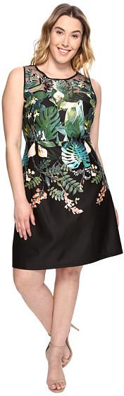 Adrianna PapellAdrianna Papell Plus Size Leafy Oasis Scuba A-Line Dress with Laser Cut Neckline