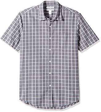 Amazon Essentials Men's Slim-Fit Short-Sleeve Plaid Shirt