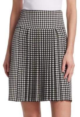 Akris Punto Gingham Pleated Skirt