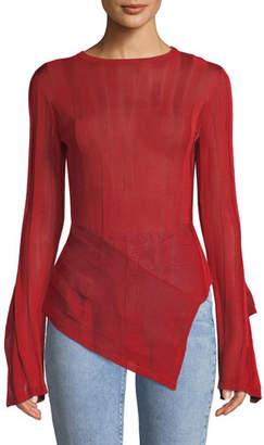 Palmer Harding palmer//harding Blaze Asymmetric Split-Sleeve Sweater