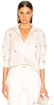 Amo Rosebud Embroidered Boxy Shirt