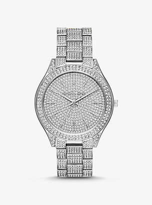 59777d590bcc Michael Kors Slim Runway Pave Silver-Tone Watch