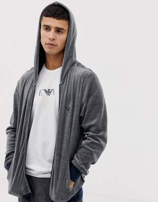 Emporio Armani eagle logo velour zip-thru hoodie in gray