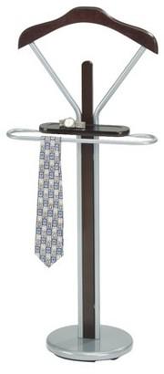Pilaster Designs Frewyn Chrome Metal & Walnut Wood Transitional Cloth, Coat, Suit & Hat Valet Stand Organizer Rack