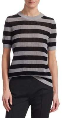 Akris Punto Striped Cotton Short-Sleeve Top
