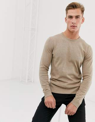 Selected cotton crew neck knitted sweater in sand