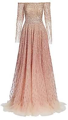 Pamella Roland Women's Off-The-Shoulder Ombré Sequin & Crystal Gown