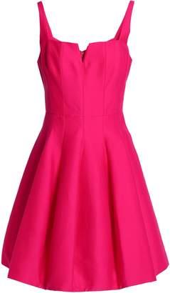 Halston Pleated Cotton And Silk-blend Mini Dress