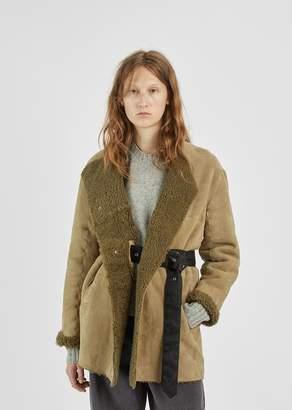 Isabel Marant Arsene Reversible Shearling Jacket Khaki