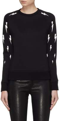 Neil Barrett Thunderbolt print sleeve scuba jersey sweatshirt