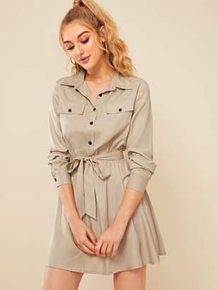 Shein Half Button Self Tie Cargo Dress