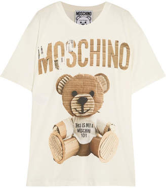 Moschino - Oversized Printed Cotton-jersey T-shirt - Off-white $250 thestylecure.com
