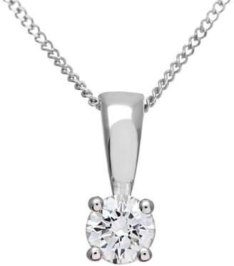 Camilla And Marc Naava Women's Round Brilliant 0.25 ct G/VS2 Certified Diamond 18 ct White Gold Solitaire Pendant with Chain of 46 cm