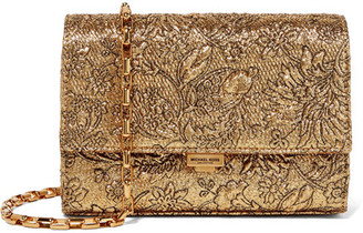 Michael Kors Collection - Yasmeen Small Metallic Brocade Shoulder Bag - Gold $690 thestylecure.com