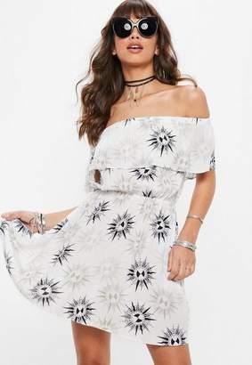 Missguided Petite White Sun Print Bardot Skater Dress