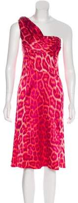 Just Cavalli One-Shoulder Midi Dress Fuchsia One-Shoulder Midi Dress