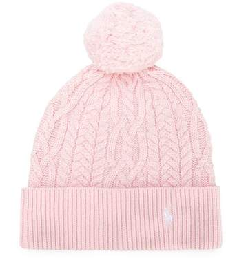 Ralph Lauren cable knit pompom hat
