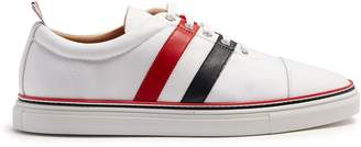 Thom Browne Straight striped-leather canvas low-top trainers