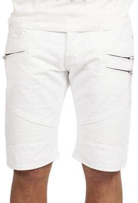 Cult of Individuality Cotton White Moto Shorts