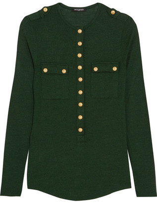 Balmain - Button-detailed Wool And Silk-blend Jersey Top - Green $1,205 thestylecure.com