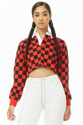 Forever 21 Checkered Long Sleeve Polo Shirt