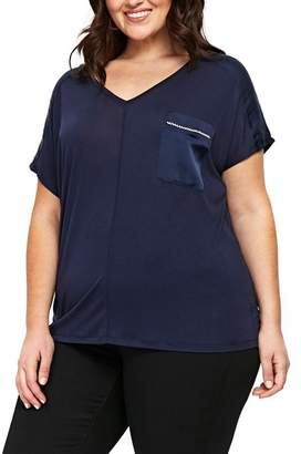 Evans Satin Pocket Tee (Plus Size)