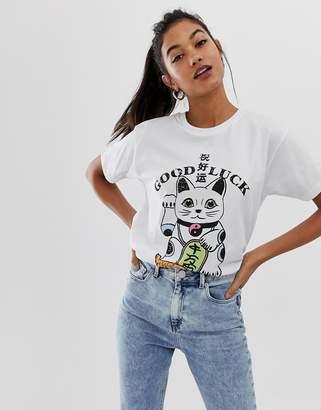 1c1832cf Asos Design DESIGN t-shirt with lucky cat print