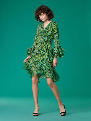 Diane von Furstenberg Tiered Ruffle Wrap Dress