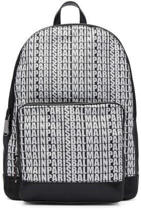 Balmain Black Leather and Nylon Beast Backpack