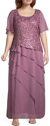 MAYA BROOKE Maya Brooke Short Sleeve Evening Gown - Plus