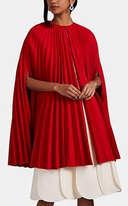 Valentino Women's Pleated Virgin Wool Cape Dress - Red